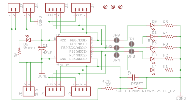 https://www.barbouri.com/2017/08/30/attiny85-breakout-with-selectable-leds/