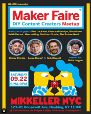 Saturday, September 22nd: 6:00pm - 9:00pm:DIY Content Creators meetup hosted by Make Jagger Where: Mikkeller Brewing NYC, 123-01 Roosevelt Ave, Flushing, NY 11368 https://www.instagram.com/p/BnuZB5vFlpq/
